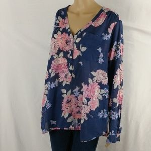 Old Navy tunic top size XL floral long sleeve